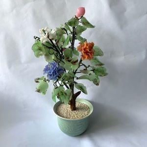 Vintage Jade Floral Tree Green Jadite, Pink Stones